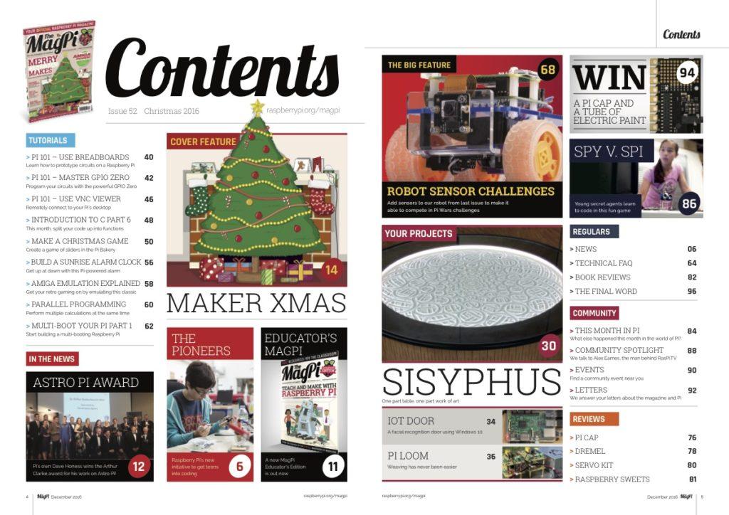 MagPi #52 Dezember Ausgabe Themen Inhalt