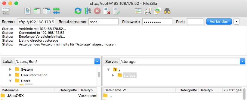 LibreELEC Datei kopieren mit SFTP Filezilla