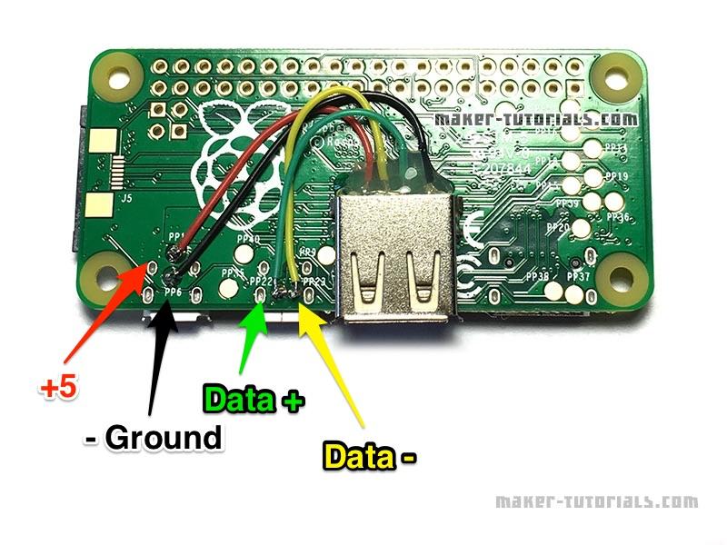 Raspberry Pi Zero USB Type-A Buchse Female add erweitern anlöten Pinout Pin Belegung
