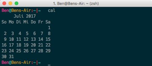Terminal CLI Kalender anzeigen