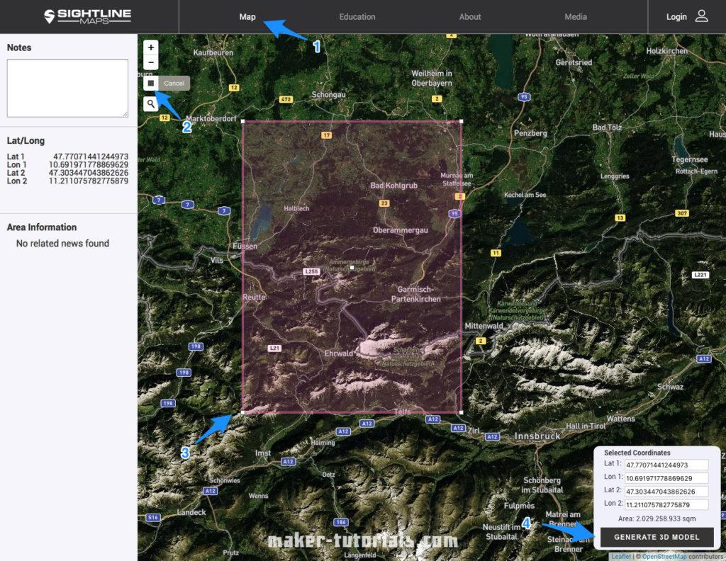 topographische Karte sightline maps