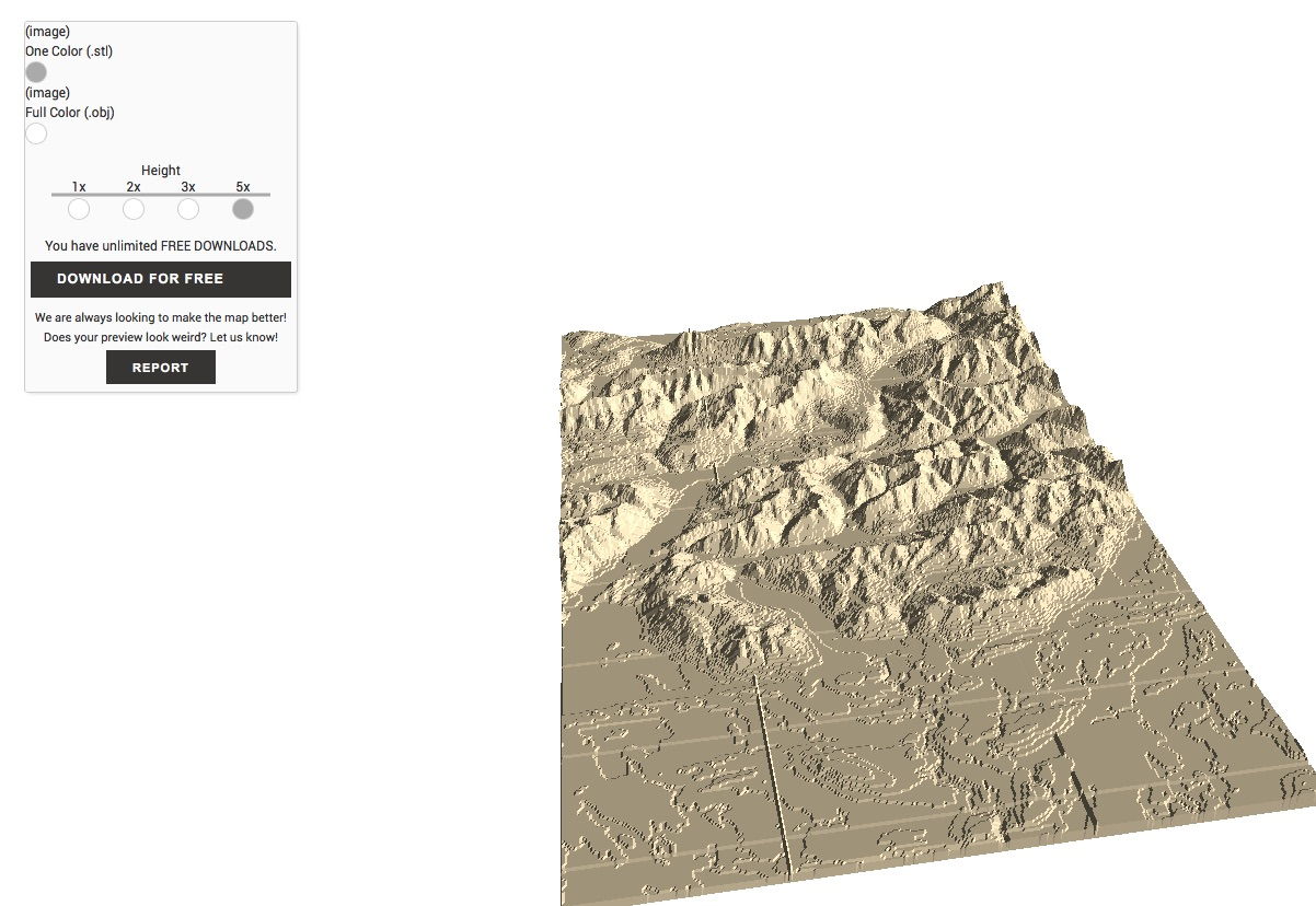Create Your Own 3d Printed Topographical Map Mini Mountain - Free-3d-us-map