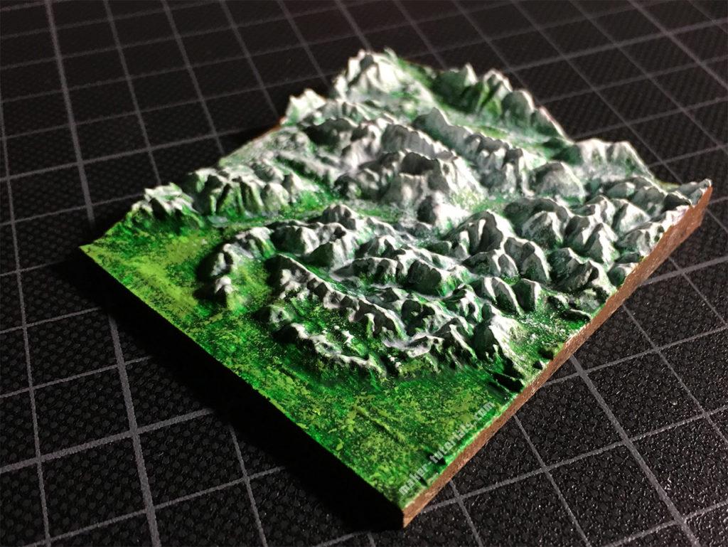 3D Modell Landkarte Berg Zugspitze Acryl Farben bemalt
