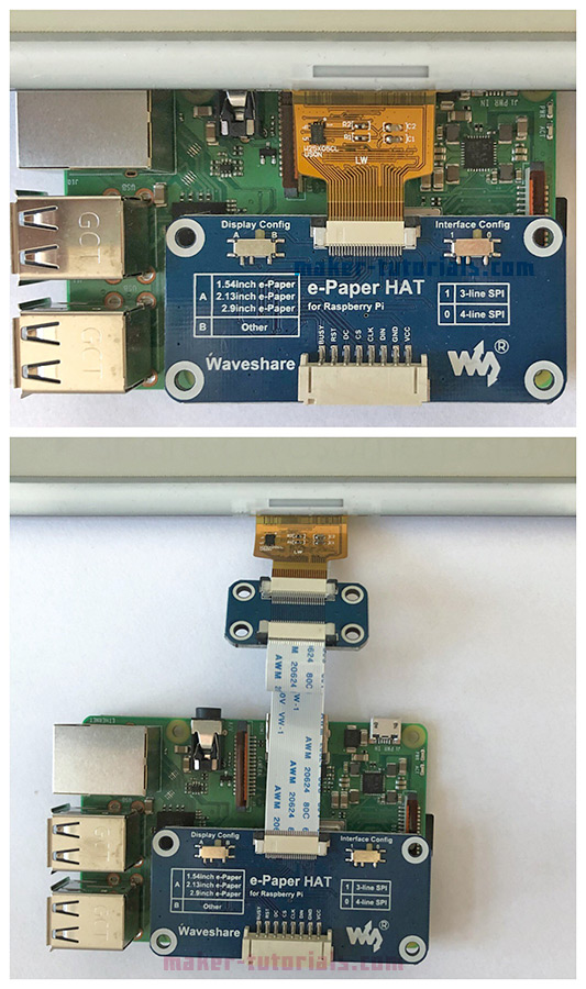 Waveshare e-paper eink display raspberry pi 3 driver hat